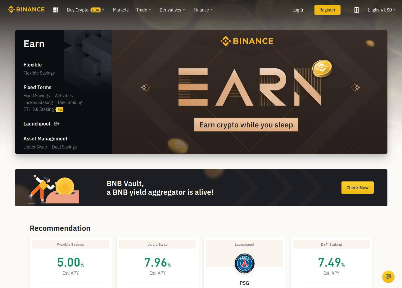 Binance crypto banking platform